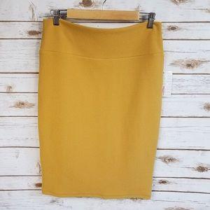 LuLaRoe Cassie Pencil Skirt Mustard Yellow Woven S
